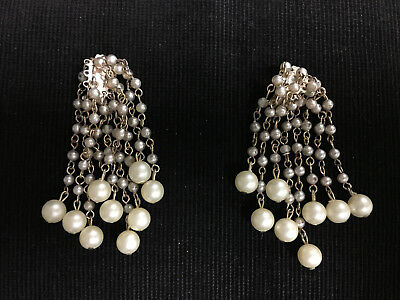 """Vintage 1950s Faux Pearl Dangle Cluster Earrings - Clip On - 3"""" Long (Defects)"""