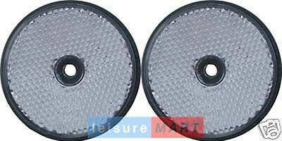 Pair of White / Clear Reflectors Screw on Type Round Trailer Front Reflectors