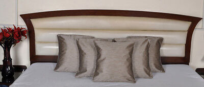 """Indian Silk Cushion Covers Set Gray Square Modern Bedding Pillow Cases 16"""" 5 PCS"""