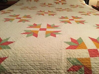 Early Antique Country/Primitive 1800's Quilt Hand Sewn Textile 82 x 66