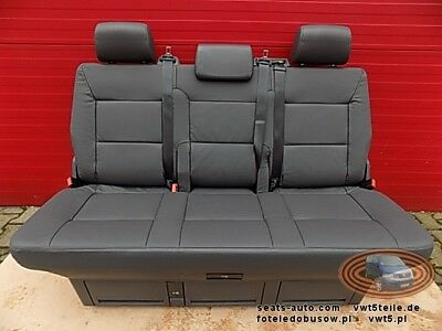 Bench rear triple seat VW T5 anthracite leather Multivan Caravelle
