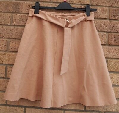 River Island Beige Nude Belted Skater Flippy Flare A Line Casual Skirt 12 M