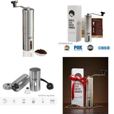 personal Manual Coffee Grinder Conical Burr Mill Brushed Stainless Steel gift