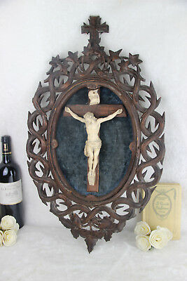 "Stunning 25,6"" Antique black forest wood carved crucifix cross religious church"
