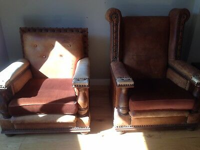 Antique Arts and Crafts Edwardian Pair of Leather Wood Club Chairs Armchairs