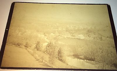 Rare Antique Victorian American New England Town Landscape Cabinet Card Photo!