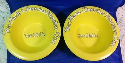 Vintage YOU MADE CHEERIOS NUMBER ONE Yellow Plastic Cereal Bowl 1980s