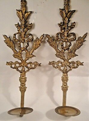 Vintage Ornate Brass Wall Sconces Candle Holders Leaves and Bow India