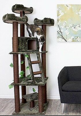 "Cat Tree Kitty Condo Tall Play Tower Large Scratching Post 75"" Multi Pet Climber"