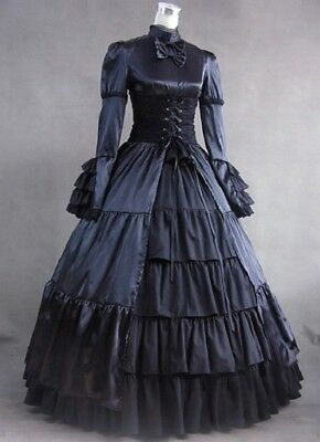 Black Layered Gothic Lolita Cake Dress Clothing Cosplay Costume Custom Size