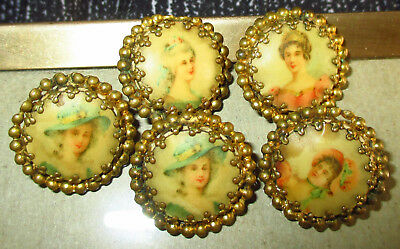 Set 5 Antique Lithograph Buttons - Lovely Ladies In Hats  Clawtooth Brass Border