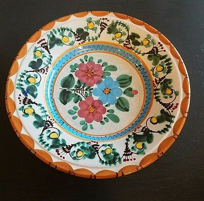 "Dipinto A. Mano Hand Painted GLOIA SALERNO 1975 12"" floral Plate Italy Signed"