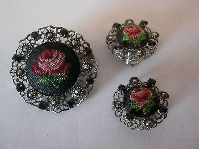 Embroidered & silvertone vintage brooch & matching earring set, floral clip ons