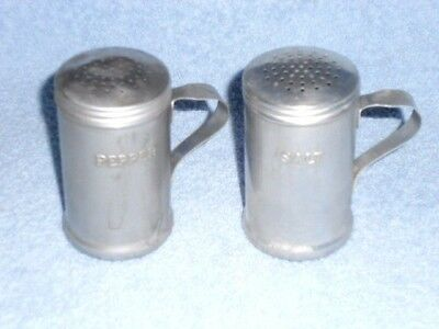 Aluminum metal stove salt & pepper shakers, screw on lids, handles, hold 1/2 cup
