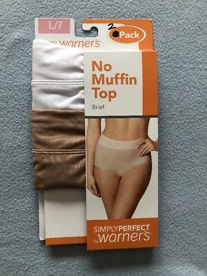 New Warners Simply Perfect No Muffin Top Brief 2 Count Size L/7
