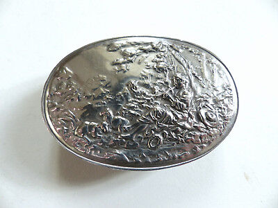 SUPERB & RARE LARGE ANTIQUE FRENCH SOLID SILVER 950 SNUFF ( or PILL ) BOX