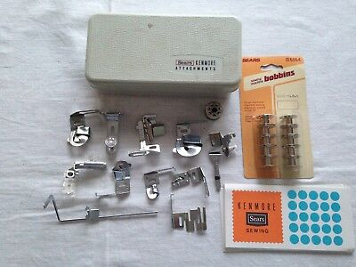 Vintage Sears Kenmore Sewing Machine Attachments Accessories Cards Bobbins & Box