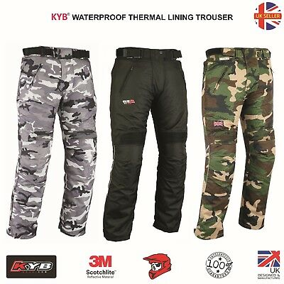 NEW Motorcycle Trouser Armour Waterproof Thermal CAMO BLACK Motorbike Trousers