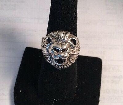 Antique Sterling Silver Large Lion Face European Heavy Hand Wrought Ring
