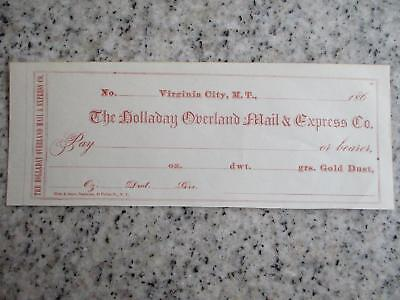 1860S Check Virginia City Montana Territory Holladay Mail & Express Gold Dust