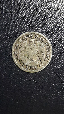 Coin Silver Chile 1/2 decimo year 1872, excelent condition