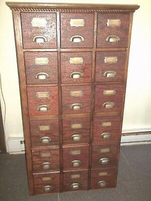 18 Drawer Oak And Pine File / Apothecary / Hardware Style Cabinet