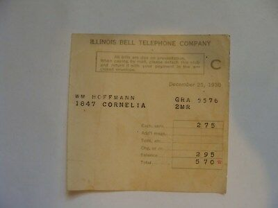 Illinois Bell Telephone Company Bill From December 1930