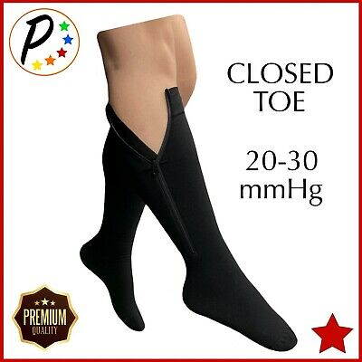 1eb79f54234611 Presadee Premium Closed Toe 20-30 mmHg Zipper Compression Leg Calf Swelling  Sock