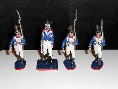 Lot of 4 French Napoleonic Era Hand Painted Lead Soldiers