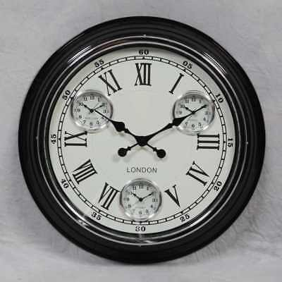 Retro Vintage Style London Large Metal Multi Dial Wall Clock Black & Cream Face