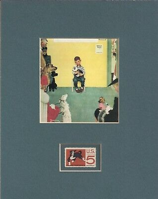 "Norman Rockwell ""at The Vet"" - Veterinarian - Frameable Postage Stamp Art - 0547"