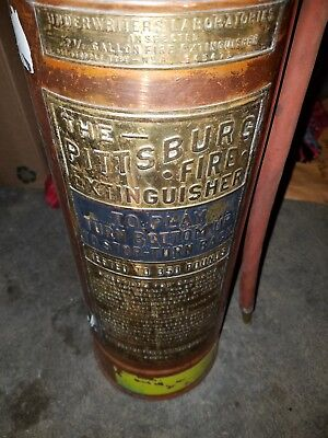 RARE Antique Vintage Pittsburg Copper Brass Fire Extinguisher