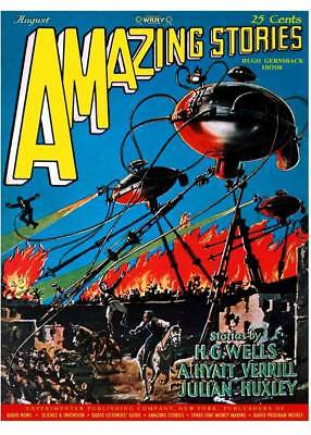 Amazing Stories Magazine 1927 , Cover Art, 4x6 Photo Reprint