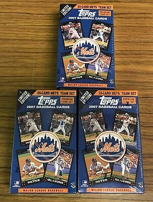Lot of 3 2007 Topps New York Mets 55 Card Team Sets New Unopened NIB Sealed