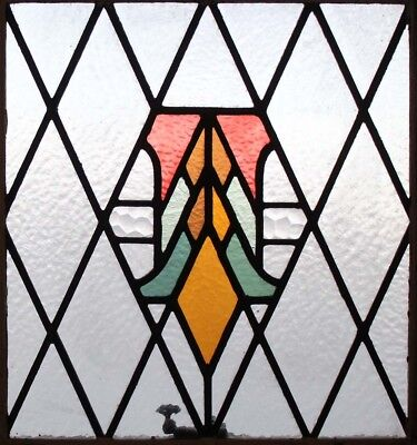 Original Art Deco English Stained Glass Window In Original Sash Frame