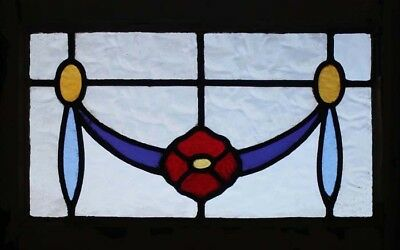Edwardian Antique Lancashire Rose Stained Glass Window