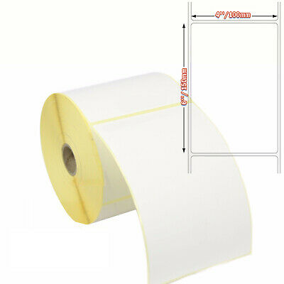 """100 X150mm White Thermal Labels 500 On A Roll Zebra, Citizen, Toshiba. (6 x 4"""")"""