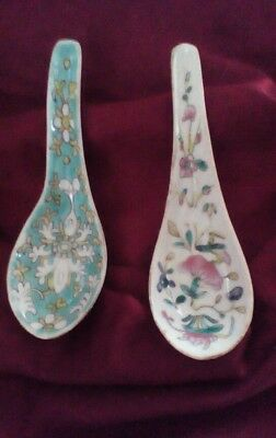 2 Vintage Chinese Porcelain Soup Spoons