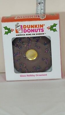 dunkin donuts chocolate glazed sprinkles 2007 glass new  christmas ornament