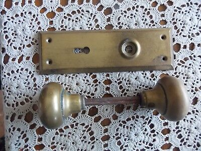 Antique/vintage Brass? Door Knob Set With Brass? Back Plate