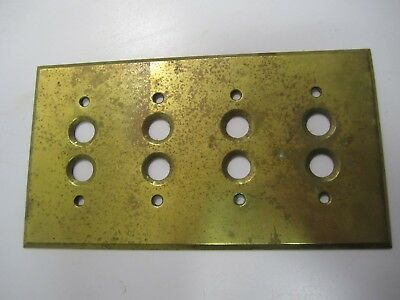 Antique Push-Button Heavy Brass, 4-Switch, Electrical Plate Cover 1903 Perkins