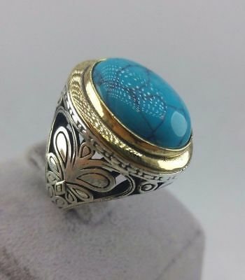 Handcraft Turkish 925 Sterling Silver Jewelry Turquoise  Gemstone Men's  Ring