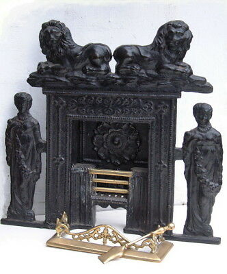 Antique Victorian Cast Iron Miniature Salesman's Sample Fireplace