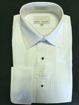 """SLIM FIT""  Neil Allyn 100% Cotton French Cuff Tuxedo Shirt (choose size)"