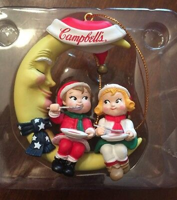 Campbell's Soup Vintage Christmas Ornament Kid's on the Moon 1995