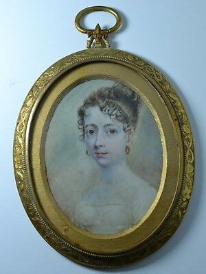 Antique French Miniature Portrait  Hand Painted Gilt Bronze Frame