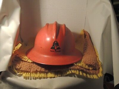 Vintage Red Fiberglass pacific telephone bell system orange hard hat
