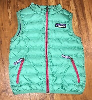 Patagonia Infant Baby Girl Down Vest Size 12-18 Months Euc
