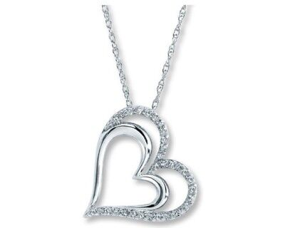 Kay Diamond Heart Necklace 1/4 ct tw Round-cut Sterling Silver NIB No Tags