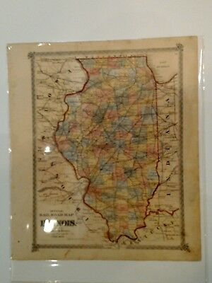 1874 Warner and Beers Map of Illinois Railroads